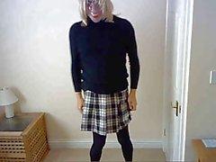 mask, stockings, skirt and panties