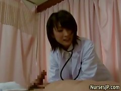 Asian slutty nurse sucks and fucks patient