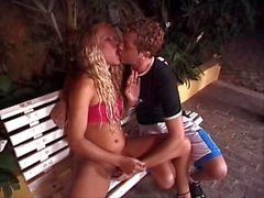 Blond hottie shemale fuck in the park