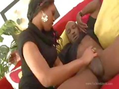Ebony gets hold of a large black cock and bangs and eats it
