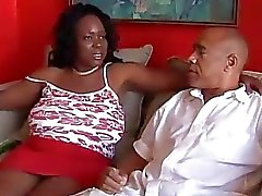 Busty mature black BBW loves to suck cock