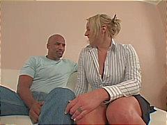 Buxom blonde on black dick