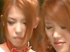 Chained asian girls stripping naked for an orgy