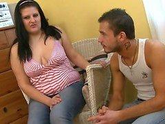 He explores then fucks her fat cunt
