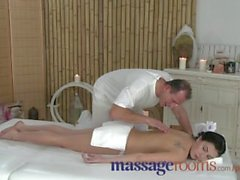 Massage Rooms Expert hands seduce a young girl into a fucking on the table