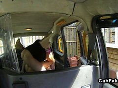 Busty British blonde gets anal in fake taxi