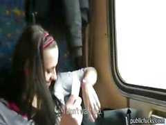 Horny amateur flashed her tits then rides cock in public train