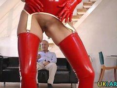 Stockings brit rides cock