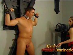 Kinky dominatrix slut ties a stud down and pleasures his cock