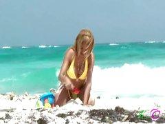 Busty Latin Tranny Flashes At The Beach