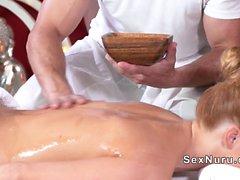 Blonde gets back massage and sex