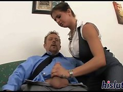 Bespectacled brunette secretary has her twat plowed