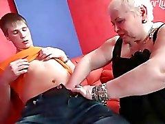 Plump mature nurse sucking young guys cock