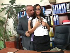 Smoking hot brunette with glasses rides her boss in his...