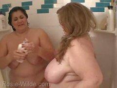 BBW mature milfs shower