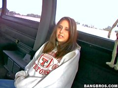 Amateur slut reveals her boobs in bang bus