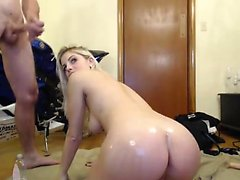 Attractive blonde squirter woman gives display to a hot cam