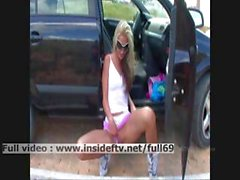 Suzanna _ Amateur blonde showing us her pussy and boobs in a car