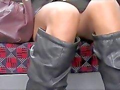 No panties in train