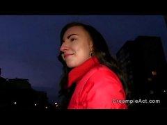 Czech amateur brunette babe gets creampie in public