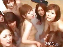Lucky guy fucks with a group of asian cuties