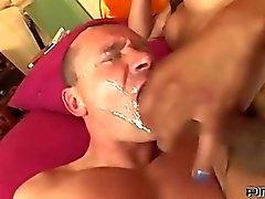 Euro Shemale Tastes Guys Ass