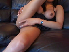 Indian hot wife in heels masturbating with a black dildo
