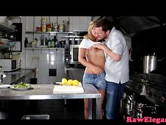Blonde babe sucks and rides cock in kitchen
