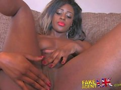 FakeAgentUK Amateur ebony babe deep throats wide cock in fake casting