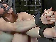 Caged up babes are forced to pleasured each other