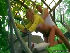 Blonde babe Lena takes a walk with her boyfriend and gets drilled in the ass outdoors