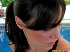 Funny cfnm femdoms play with dude outdoors