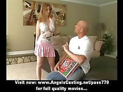 Cute brunette doing blowjob and titsjob for pizza guy with pizza on