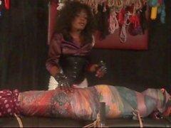 Scarf silk bondage tease denial milking chastity cage maitresse akina