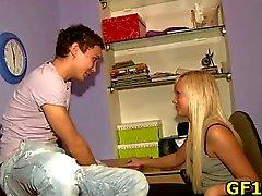 Boyfriend fucks blonde GF hard
