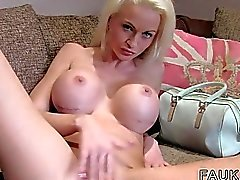 Fake big tits blonde Brit banged in casting