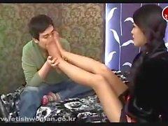 Korean girl pantyhose feet worship