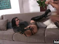 Horny beauties in stockings share a BBC
