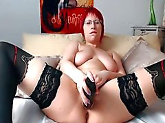 Chubby redhead with glasses masturbating