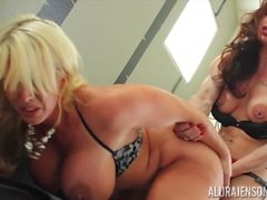Alura Jenson and Brandie Mae Lesbian strap on pussy fuck