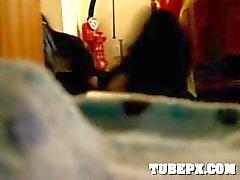 Got caught getting fucked on hidden camera in her corridor