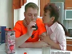 Mom is horny as she gently touches boy