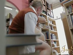 Hot bookworm girl drilled hardcore in the library