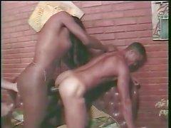 Big cock ebony Tgirl in threesome action