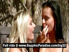 Superb brunette and blonde lesbians kissing and getting naked and having lesbian sex