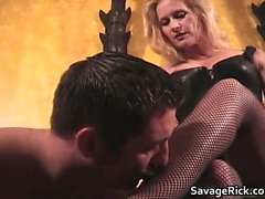 Hot black leather blonde MILF babe gets