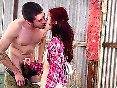 Skinny teenie with hairy pussy takes big cock