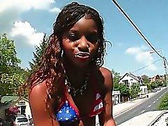 African tempting slut flashing her sexy butt outdoor