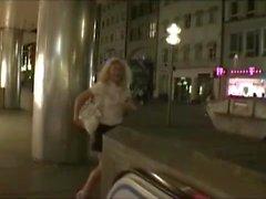 crazy german woman has some kinky public pissing fun