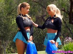 Busty cheerleaders pussylicking sixtynine